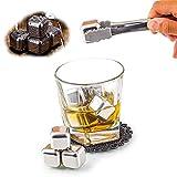LIANHUI 6 piedras de whisky de acero inoxidable reutilizables de metal con pinzas de hielo sin diluir bebida fría utilizada para whisky cerveza y todas las bebidas