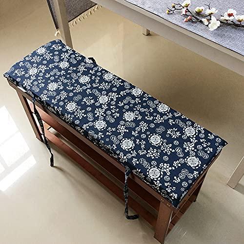 Hruile Cojín largo de 4 cm de grosor, suave para jardín, con lazos de fijación, almohadilla de asiento de repuesto para columpio de patio, cojín de asiento de banco de 2 o 3 plazas para interiores