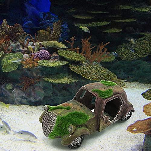 Abnaok Aquarium Deco - Aquarium Decoration de Voiture - Decoration Aquarium Cachette - Abri pour Cacher des Poissons sous l'eau - Aquarium Accessoires, Imitation Accident Paysage