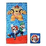 Franco Kids Bath and Beach Soft Cotton Terry Towel with Washcloth Set, 25' x 50', Super Mario