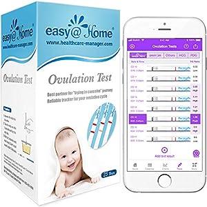 25 Pruebas de ovulación ultrasensibles (25mlU/ml), Easy@Home 25 Tests de Ovulación- Resultados Precisos con la App Premom (iOS & Android) gratuita Español