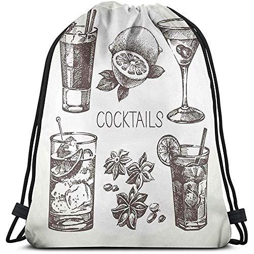Rugzakken Zakken, Vintage Hand-Drawn Schets Van Alcoholische dranken Met Lime Olijf Munt, Verstelbare String Sluiting