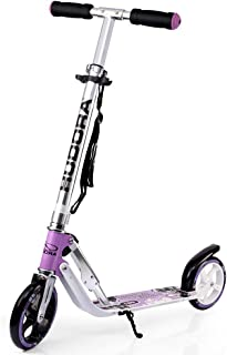 HUDORA 180 Foldable Kick Scooter Height Adjustable Aluminum Scooters with Big PU Wheels