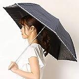マッキントッシュフィロソフィー(傘・ネックウェア・帽子) 日傘(2段折り畳み/晴雨兼用/楽々開閉)【軽量フワクール/遮光&UV遮蔽99%以上/遮熱】ストライプ【74 ネイビー×ホワイト/**】