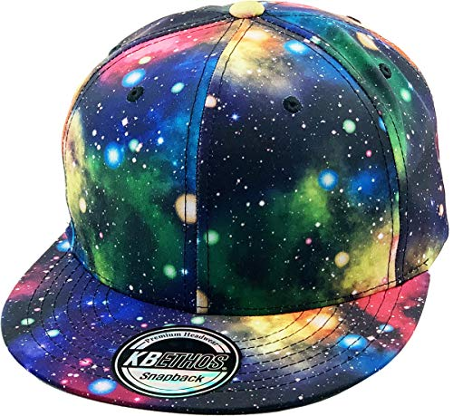 KNW-1469ALL-GX BLK Galaxy Leaf Hologram Floral Aztec Bandana Print Brim Snapback Hat Baseball Cap