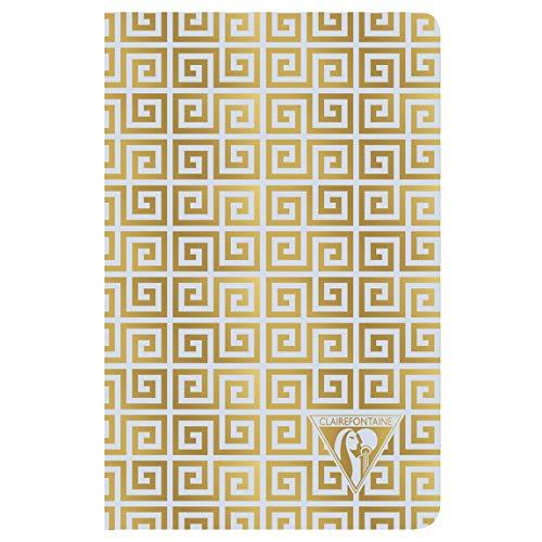 Clairefontaine 193196C – Un cuaderno de piqué cosido hilo Neo Deco 96 páginas marfil 9 x 14 cm, 90 g a rayas, tapa de tarjeta laminada, diseño antiguo, azul esmerilado