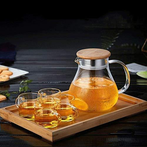 LITINGT Tetera Tetera de Vidrio Juego de té para cocinar en casa Filtro de Vidrio Resistente al Calor Tetera de Alta Capacidad de Alta Temperatura 1L (Tetera + 4 Tazas + Bandeja de té)