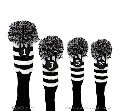 Pacific Golf Clubs Head Covers 1 3 5 X Black and White Knit Retro Old School Vintage Stripe Pom Pom Throwback Classic