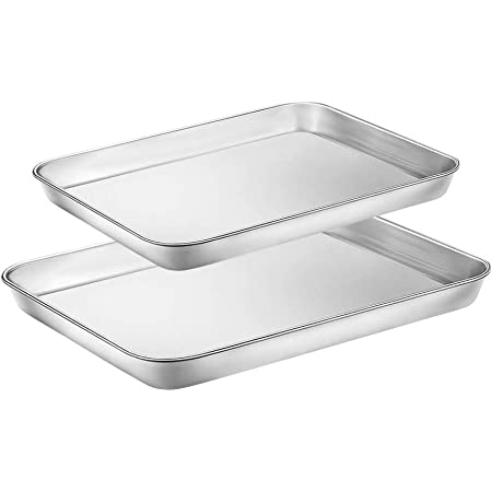 Toaster Oven Tray Baking Pans with Cooling Rack Sturdy /& Heavy Bakeware Sheet Trays Mirror Finish Dishwasher Safe by EANINNO Stainless Steel Metal Cookie Sheets Set 12.4 x 9.7 x 1 inch