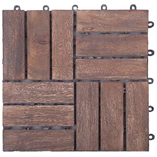 Cikonielf 22 Pcs Baldosas de Madera Maciza para Exterior, 30 x 30 x 2,4cm, Baldosas Durable Antideslizante para Patio, Terraza, Jardín