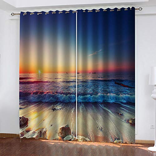 ZYTICHL 3D Blackout Curtains For Kids 2 Panels Sunset Beach Waves Eyelet Ring Top Darkening Thermal Insulated Curtains Window Treatment For Living Room Bedroom 140X160 cm