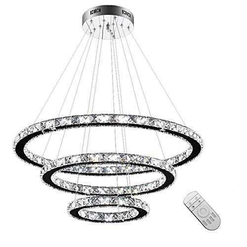 HENGMEI LED Kronleuchter Hängelampe Kristall Pendelleuchte 96W Dimmbar Deckenleuchte Hängeleuchte Drei Ringe (Dimmbar, 96W)