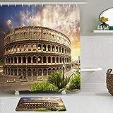 SUDISSKM de alfombras de baño con Cortinas de Ducha Alfombrillas de baño Antideslizantess,Foro Coliseo de Color Azul Roma Italia Parques Flavios Coliseo Rojo Anfiteatro Romano Romano Empire Field