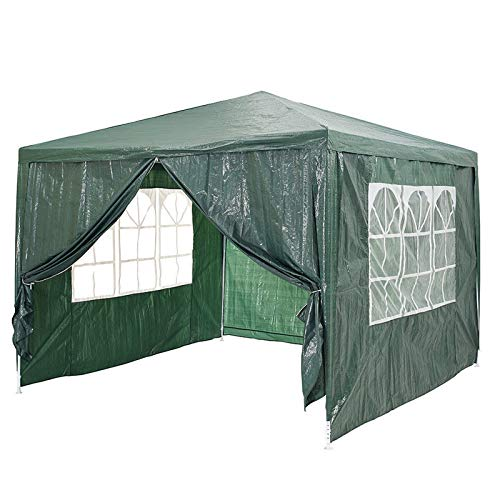 Garden Waterproof Gazebo, 3m x 4m PE Gazebo Folding Large Heavy Duty Marquee Awning Party Tent Canopy Green 120g PE Power Coated Steel Frame with 4 Removable Sides