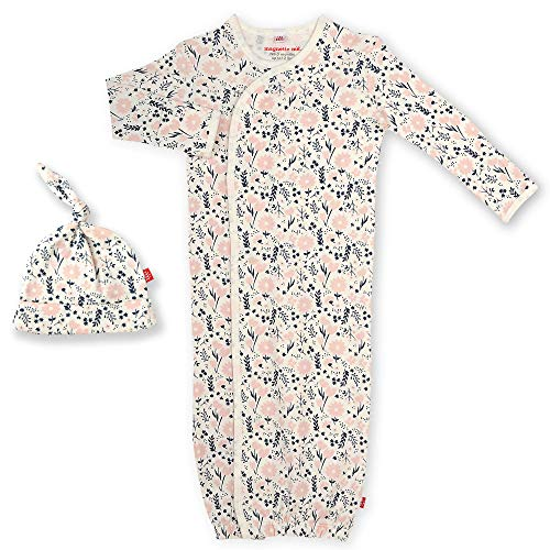 Magnetic Me Baby Gown & Hat Sleep Outfit Girls Organic Cotton Layette Sack Set with Magnet Fasteners Newborn - 3 Months Fall Garden
