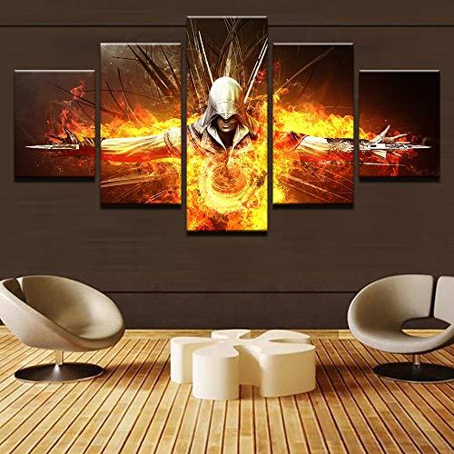 Assassin'S Fire Creed Leinwand Hd Gemälde Wandkunst Home Decor 5 Stück Sacred Om Symbol Poster Buddha Yoga Bilder(Frameless size3)