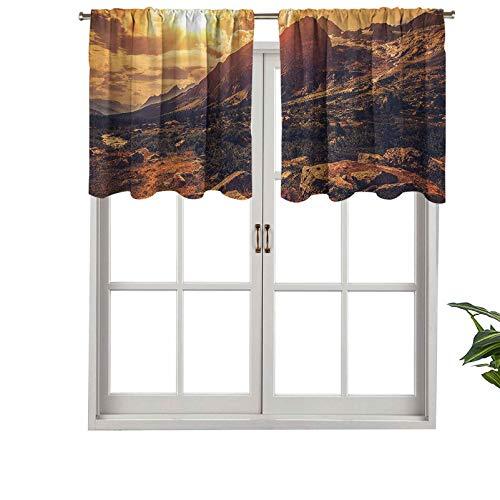 Hiiiman Cenefa de cortina con bloqueo UV, diseño de Alpes italianos, paisaje norte de Italia, granito, plantas silvestres, juego de 2, 137 x 91 cm para habitación de niños