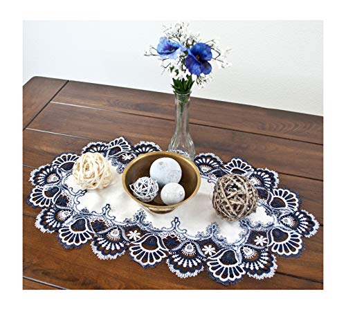 Large Lace Placemat Dresser Scarf Table Runner Blue Navy and White European Table Centerpiece 14 x 27 Inches Doily