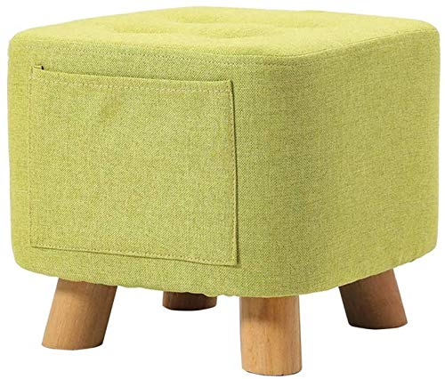 Woonkamer stoel Houten Frame Ottomaanse opbergtas met houten poten, linnen voetenbankje, Poef Poef Met zeer elastische spons vullen, Brown, Matcha Green (Kleur: Bruin) (Color : Green)