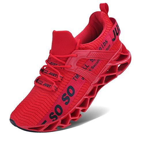JSLEAP Laufende Tennisschuhe der athletischen gehenden Klingen der Männer Mode-Turnschuhe (2 Rot,Größe 41 EU/255 CN)