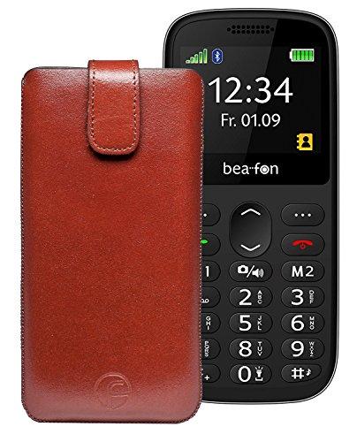 Favory Etui Tasche für Beafon SL350 - Beafon SL160 Leder Handytasche Ledertasche Schutzhülle Hülle Hülle Lasche mit Rückzugfunktion in Braun