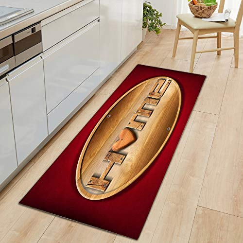 HLXX Alfombra de Cocina Alfombras Modernas Antideslizantes Sala de Estar Balcón Baño Alfombra Estampada Felpudo Pasillo Alfombra de baño Alfombra de Piso Piso A6 60x90cm
