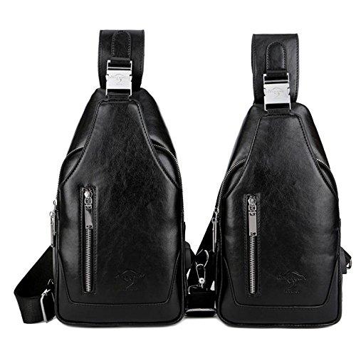Sac de Poitrine sac en cuir imperméable à l'eau rayure rayure sac à bandoulière extérieur Sling bag , Brown , Black