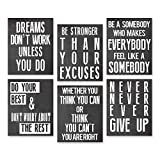 Inspirational Wall Art Poster Prints Quote Positive Affirmation Motivational Wall Art Quotes Pictures fun Office Wall Decor Artwork Art for living room bedroom walls office art (Black, 6,8x10)