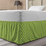 Ambesonne Geometric Elastic Bed Skirt, Retro Style Simple Image of Polka Dots Circle Shapes in Repetitive Pattern, Wrap Around Fabric Bedskirt Dust Ruffle for Bedroom, Twin/Twin XL, Lime Green White