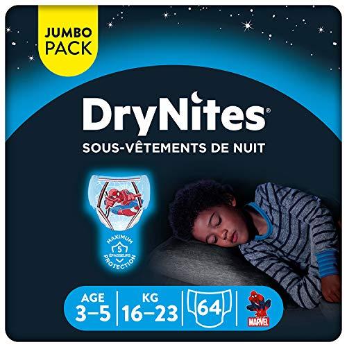 Huggies DryNites - Ropa interior desechable de noche para niños, talla 3-5 años, 64 bragas