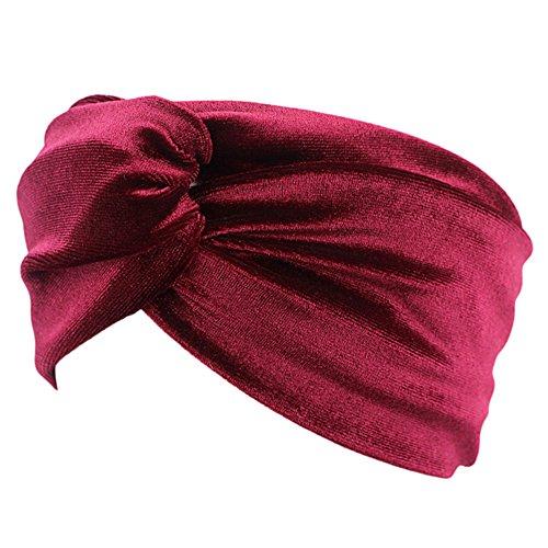 TININNA Frauen Elastische Twisted Sport Haar Band Gold Samt Kreuz Stirnband Haar Zubehör Kopfbedeckung für Yoga Sport Running (Weinrot) EINWEG Verpackung