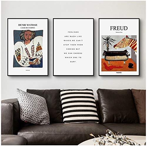 A&D Französisch Freud Matisse Englisch Brief Weibliche Porträt Moderne dekorative Bild Leinwand Wandkunst Poster für Zimmer büro decor-50x70 cm3 stücke Kein Rahmen