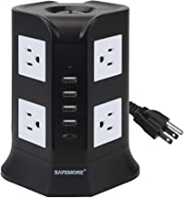 Power Strip,Lanshion 8 Outlet Surge Protector Power Strip with 4 USB Charging Ports 1875W Desktop USB Charging Station with 6.5-Feet Long Power Cord, 1000 Joules, UL Listed(White + Black)