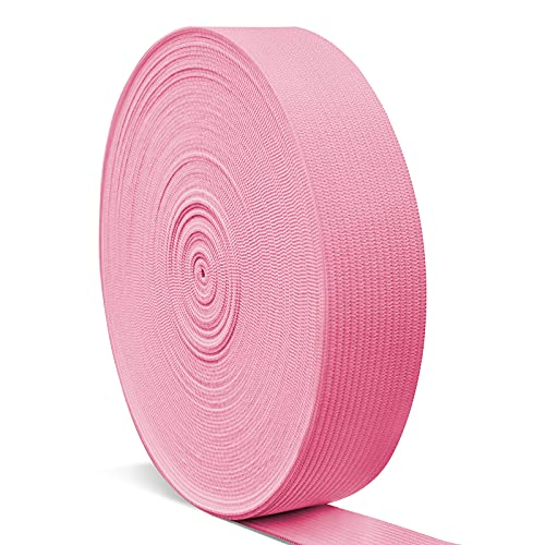 Elastic Bands for Sewing 1 Inch, Hengiee Braided Elastic for Wigs, Waistband, Skirt, Pants, Headband, Bed Sheets, Kids Clothes, Craft DIY Projects(Pink, 12 Yard)