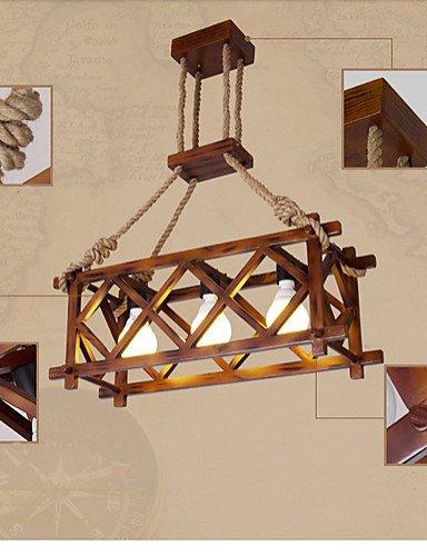 ZHY American Country restaurant houten touw kroonluchter verlichting hanger plafondverlichting hanglampen lampen, warm wit