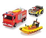 DICKIE Toys 203099629401 - Feuerwehrmann Sam dreiteiliges Fahrzeug Set -