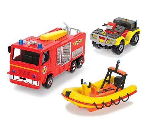 DICKIE Toys 203099629401 - Feuerwehrmann Sam dreiteiliges Fahrzeug Set