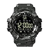 TPLNB EX16 Sport Bluetooth Smart Watch 5ATM Outdoor Camouflage IP67 Waterproof Smartwatch Pedometer Remote Pedometer Control Photo Long Time Standby Men's Watch (Color : Gray)