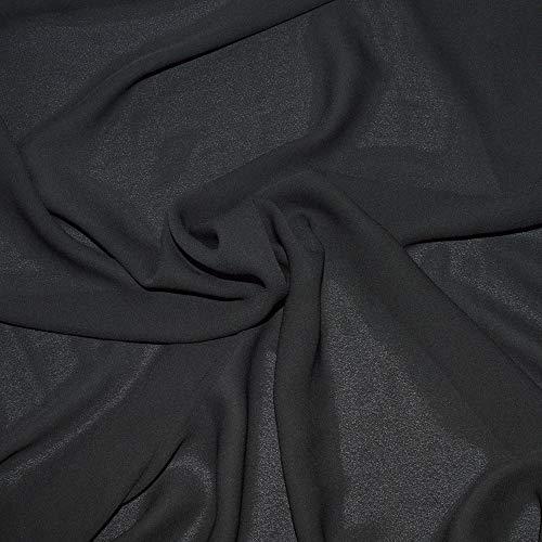Chiffon stoff soft und fließend- Crepe Chiffon schwarze farbe - 100% Polyester, 3 m lang, ideal für Gardinen oder Kleidung