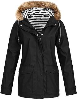 Doric Womens Fall Winter Outdoor Lightweight Jacket Waterproof Windproof Rain Jackets Hooded Raincoat Windbreaker