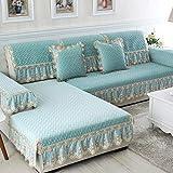YUTJK Chaiselongue-Sofa Bezug,Chenille Lace Sofabezug mit Rock,rutschfestem Rückensofakissen,Universal Sofa Pad für Wohnzimmer-Grün_90x180cm+15cm
