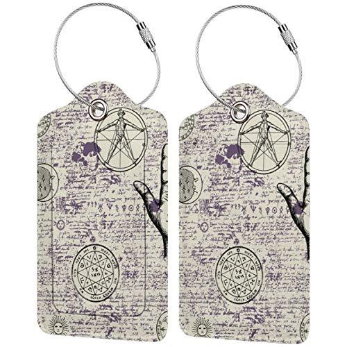 WINCAN Gepäckanhänger Kofferanhänger mit Adressschild,Mystik, Magie, Religion und Okkultismus mit verschiedenen esoterischen und freimaurerischen Symbolen (2 Stück)
