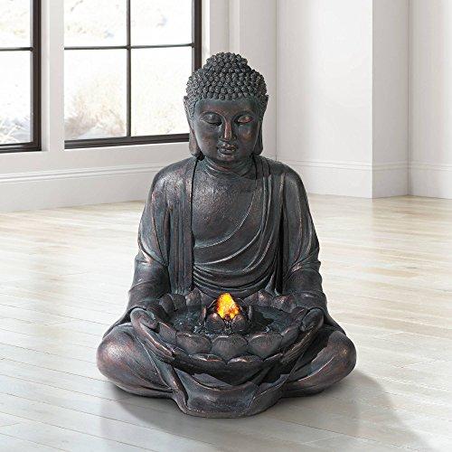 Lamps Plus Zen Buddha Outdoor Water Fountain LED Light Meditating for Yard Garden - John Timberland