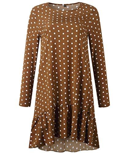 Vestido De Lunares con Estampado Suelto para Mujer Vestidos Dulces De Manga Larga con Volantes