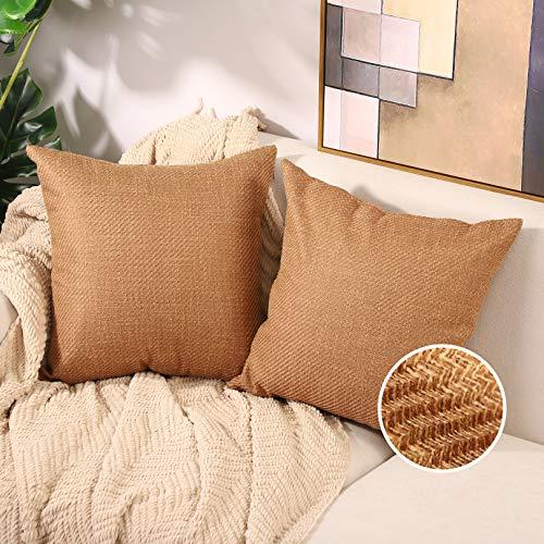 Basic Model Juego de 2 fundas de cojín decorativas de lino y arpillera, cuadradas, para sofá, salón, 40 x 40 cm