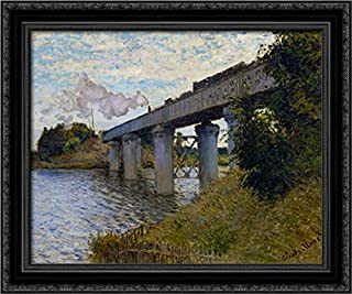 The Railway Bridge at Argenteuil 24x20 Black Ornate Wood Framed Canvas Art by Claude Monet