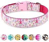 Taglory Cute Dog Collar, Flower Pattern Pink Dog Collars for Girl Dogs, Medium