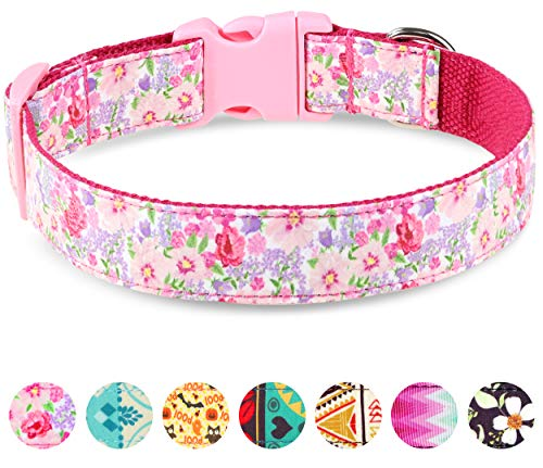 Taglory Verstellbares Hundehalsband,Weich & Komfort Hunde Halsband für Mittelgroße Hunde,Rosa Blume