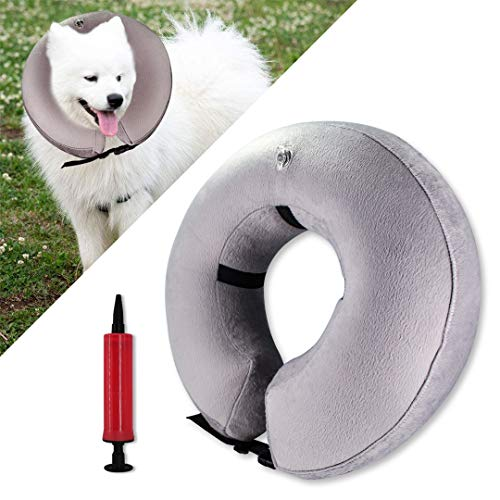 Spardar Protective Inflatable Dog Collar Soft Pet Recovery E-Collar Cone for Small Medium Large Dogs Cats Prevent Pets from Touching Stitches with inflator Tool (M)