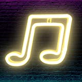 Musical Note LED Neon Light Signs, Musical Note Shaped Neon Signs Wall USB/Battery Hanging Night Light for Bedroom Wall Decor, Kids Room, Restaurant, Party, Bar, Birthday Gift (Yellow-Music Note)